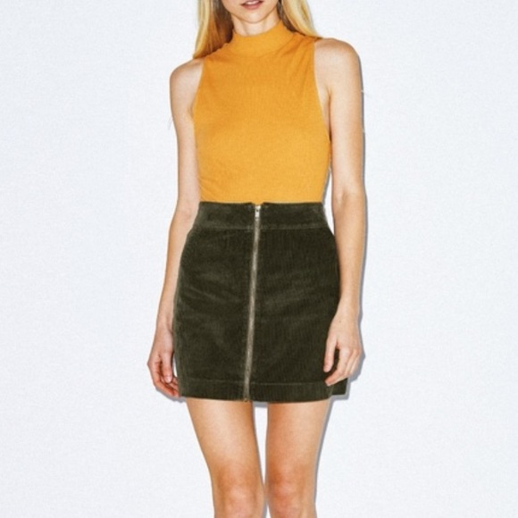 Corduroy Zip Skirt